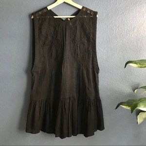Free People Black Lace Sleeveless Tunic